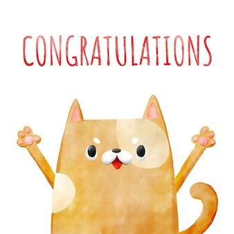 Provérbio de gato aquarela mão desenhada