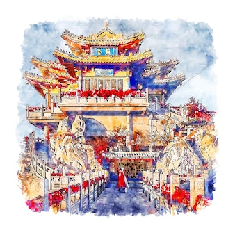 Província de luoyang henan china esboço em aquarela ilustração desenhada à mão