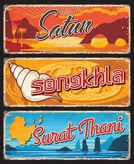 Províncias de surat thani, songkhla e satun tailândia