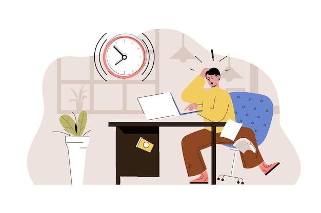 Próximo conceito de prazo final: funcionário estressado corre para terminar a tarefa não consegue chegar a tempo