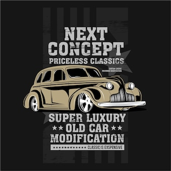 Próximo conceito, ilustração de modificação de carro clássico
