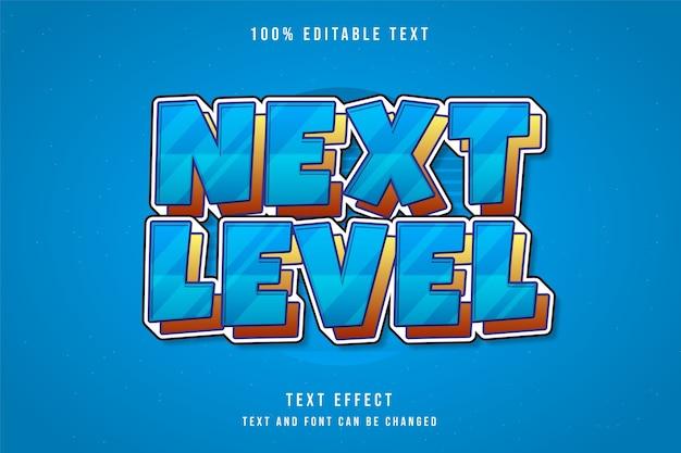 Próximo nível, efeito de texto editável gradação de azul amarelo laranja estilo de texto em quadrinhos