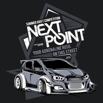 Próximo ponto, ilustração de carro super rápido