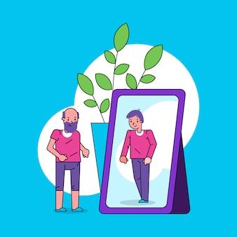Psicologia do conceito de ego de auto-percepção com o velho olha no espelho e se vê como menino na ilustração de arte linha de reflexão.