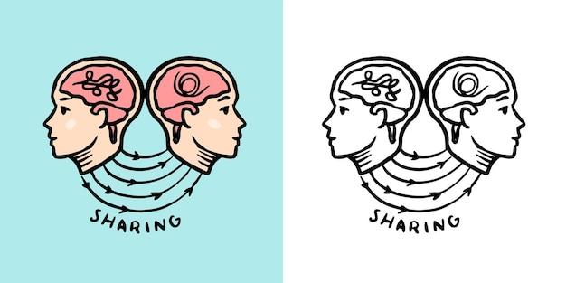 Psicologia humana compartilhando conceito de ilustração vetorial retrô de sistema nervoso para xilogravura ou impressão à mão