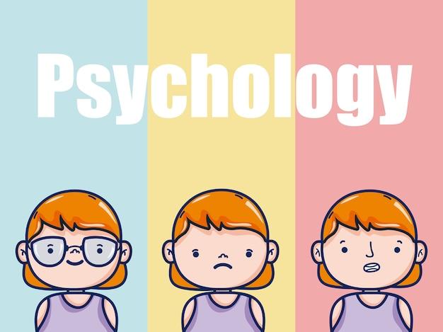 Psicologia para desenhos animados de garota garoto sobre design gráfico de ilustração vetorial de fundo colorido