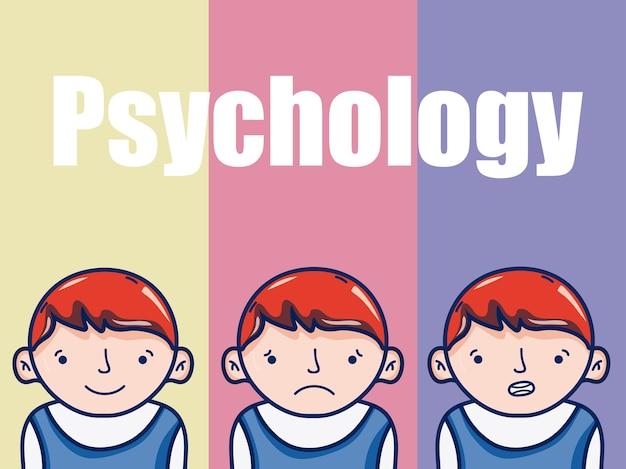 Psicologia para desenhos animados de menino sobre design gráfico de ilustração vetorial de fundo colorido