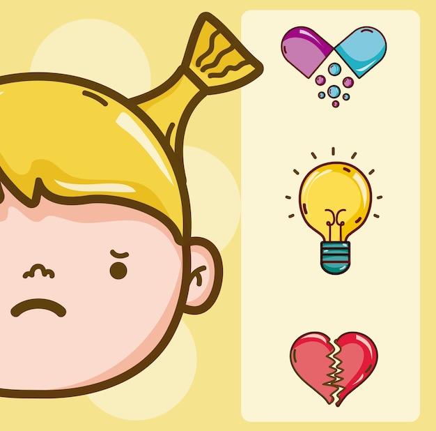 Psicologia para design gráfico de ilustração vetorial garoto menina dos desenhos animados