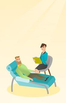 Psicólogo com sessão com o paciente.