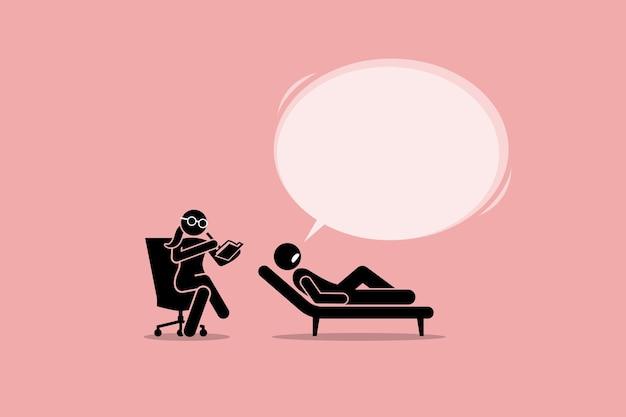 Psicólogo consultando e ouvindo um paciente com problema emocional mental.
