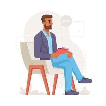 Psicólogo masculino segurando uma prancheta e ouvindo