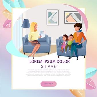Psicólogo online consulta vector web banner