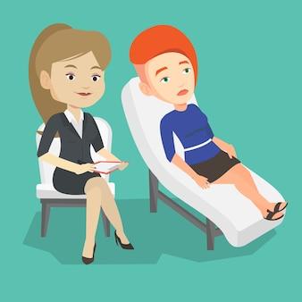 Psicólogo, tendo a sessão com o paciente.