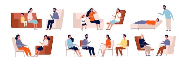 Psicoterapia. conselheiro adulto, terapia de grupo familiar, tratamento consultando a coleção de personagens