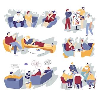 Psicoterapia e ajuda mental e vetor de apoio