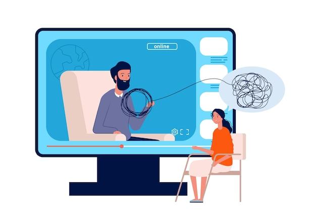 Psicoterapia online. consulta de psicólogo, conferência de saúde mental para adultos na web. mulher precisa de ajuda, ilustração vetorial médico e paciente. terapia online de psicoterapia, ajuda na consulta mental