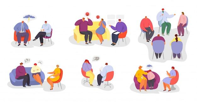 Psicoterapia, pessoas no conjunto de ilustração de consulta de médico psicólogo.