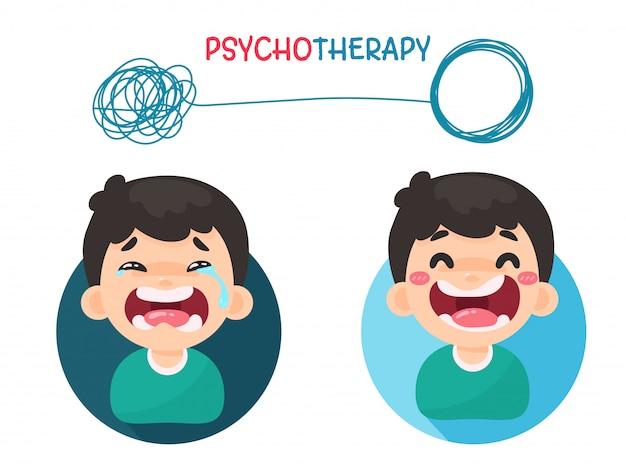 Psicoterapia. tratamento de problemas mentais, resolvendo pensamentos caóticos com uma boa atitude.