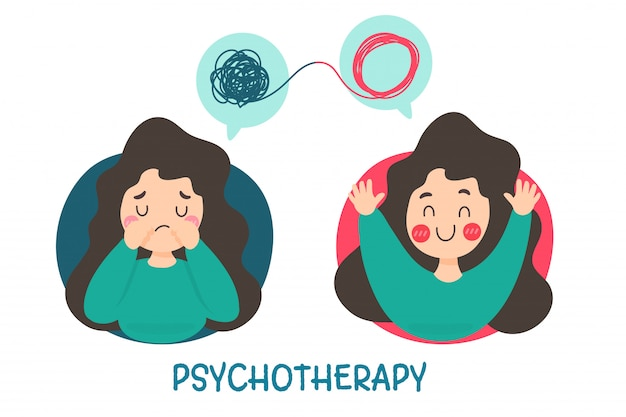 Psicoterapia. uma mulher com problemas mentais causa tristeza e precisa de tratamento para ter um bom humor.