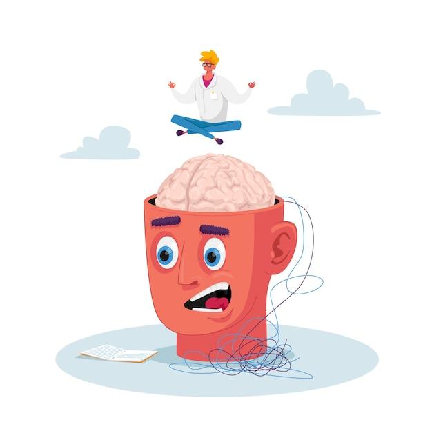 Psiquiatra minúsculo personagem sentado na postura de lótus meditando acima da enorme cabeça humana