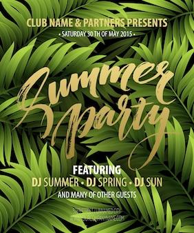Pster festa de verão com folha de palmeira e letras.