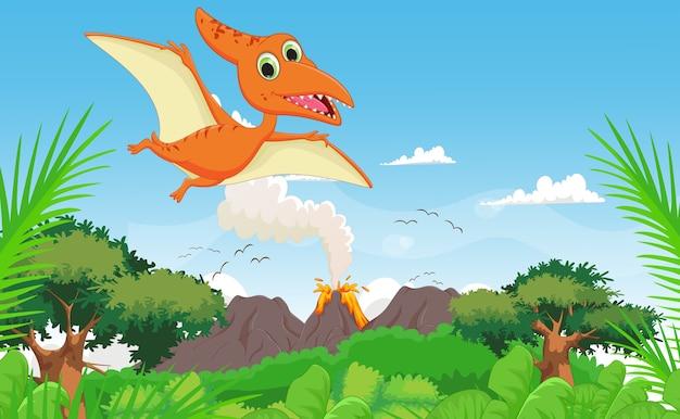 Pterodáctilo bonito dos desenhos animados voando