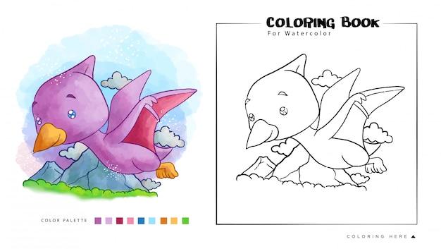 Pterodáctilo bonito voando no céu. ilustração dos desenhos animados para livro de colorir em aquarela