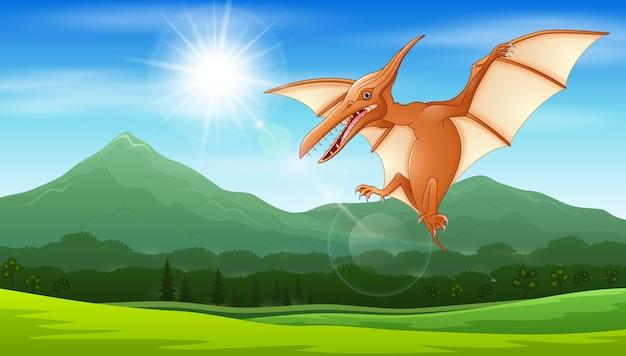 Pterodáctilo voando sob o sol