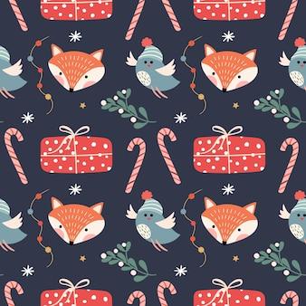 Pttern sem costura de natal com raposas, pássaros e presentes de natal