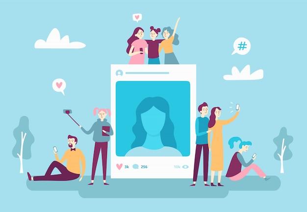 Publicação de fotos em redes sociais. jovens pessoas postando selfie foto