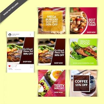Publicação de mídia social de comida para restaurante