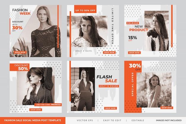Publicação de mídia social de promoção de moda minimalista