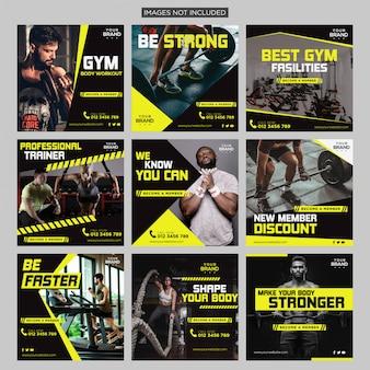 Publicação de mídia social do gym fitness