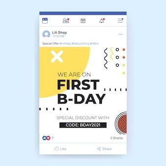 Publicação de mídia social geométrica minimalista de aniversário