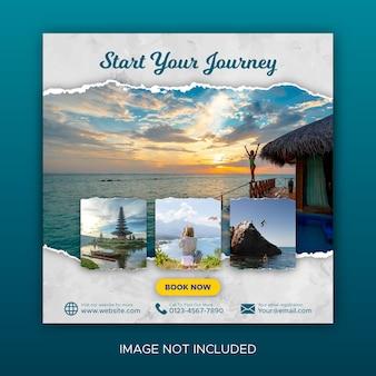 Publicação de viagens nas redes sociais e promoção de feeds