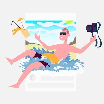 Publicação guy se banhando com um coquetel nas mãos e uma câmera conceito para blogueiro