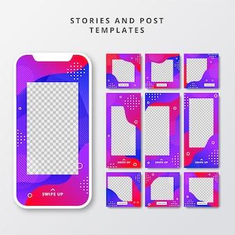 Publicações criativas nas redes sociais e coleção de histórias