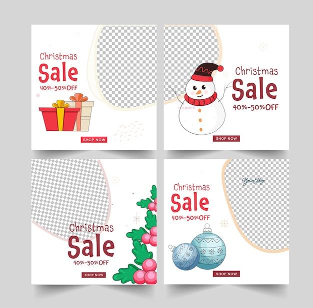 Publicações de mídia social de venda de natal ou layout de modelo com oferta de desconto de 40-50% e elementos do festival em fundo branco.