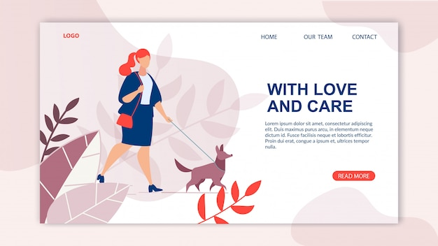 Publicidade banner inscrição amor e carinho.