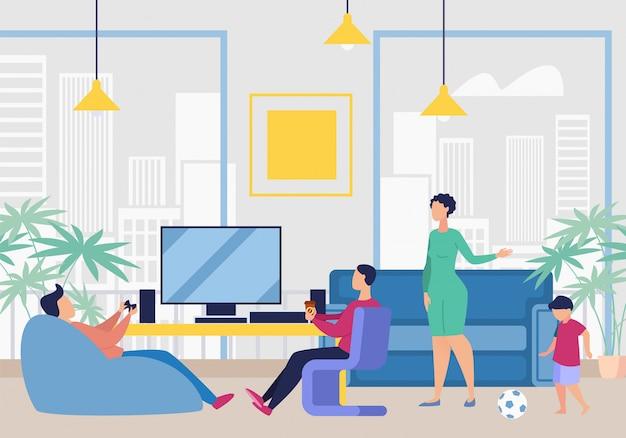 Publicidade banner jogo quarto no escritório dos desenhos animados.