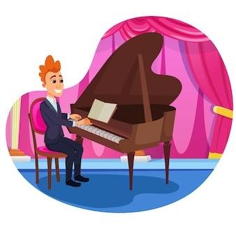 Publicidade banner piano solo performance plana.