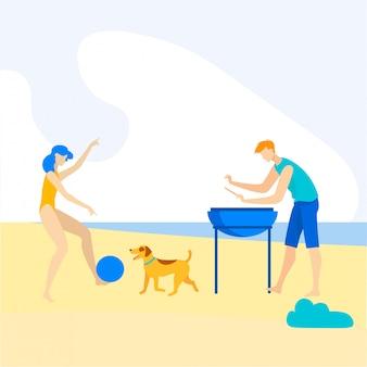 Publicidade banner praia churrasco cartoon plana.