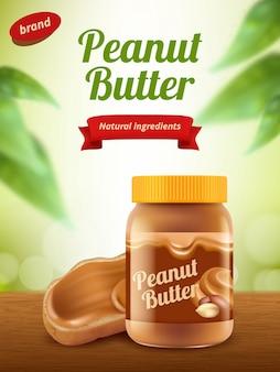 Publicidade com manteiga de amendoim. cartaz de comida cremosa saudável chocolate doce ou modelo de banner realista de cartaz