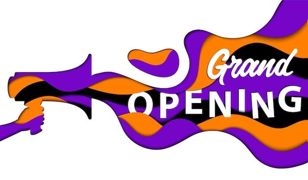 Publicidade, conceito de inauguração. mão segura um alto-falante com linhas onduladas coloridas próximas isoladas. design de corte de papel abstrato minimalista