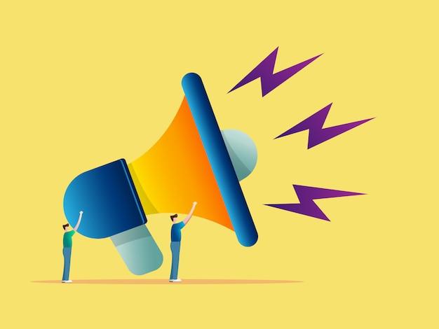 Publicidade conceito dois homem com megafone grande