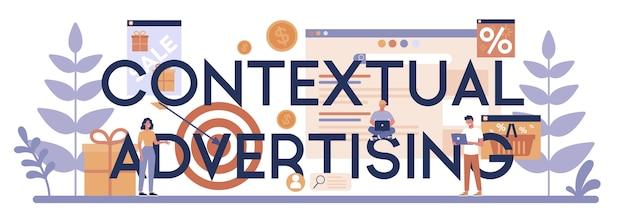 Publicidade contextual e conceito de cabeçalho tipográfico de segmentação