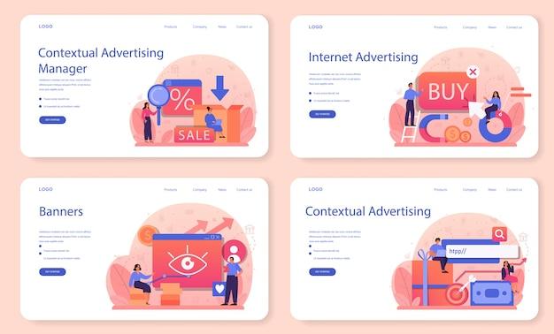 Publicidade contextual e segmentação de banner da web ou conjunto de páginas de destino.
