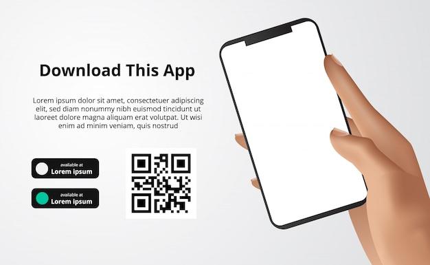 Publicidade de banner da página de destino para download do aplicativo para celular, mão segurando o smartphone. baixe botões com modelo de código qr de digitalização.