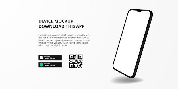 Publicidade de banner de página de destino para download de aplicativo para celular, maquete de dispositivo de smartphone 3d float botões de download com modelo de código qr de digitalização.