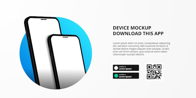 Publicidade de banner de página de destino para download de aplicativo para telefone celular, maquete de dispositivo 3d duplo moderno e moderno. botões de download com modelo de código qr de digitalização.